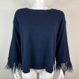 J Crew Feather Sleeve Wool Blend Sweater Crewneck